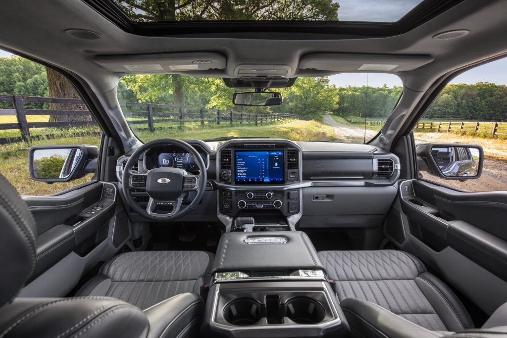 The Ford F-150 has a spacious interior with comfortable seating.