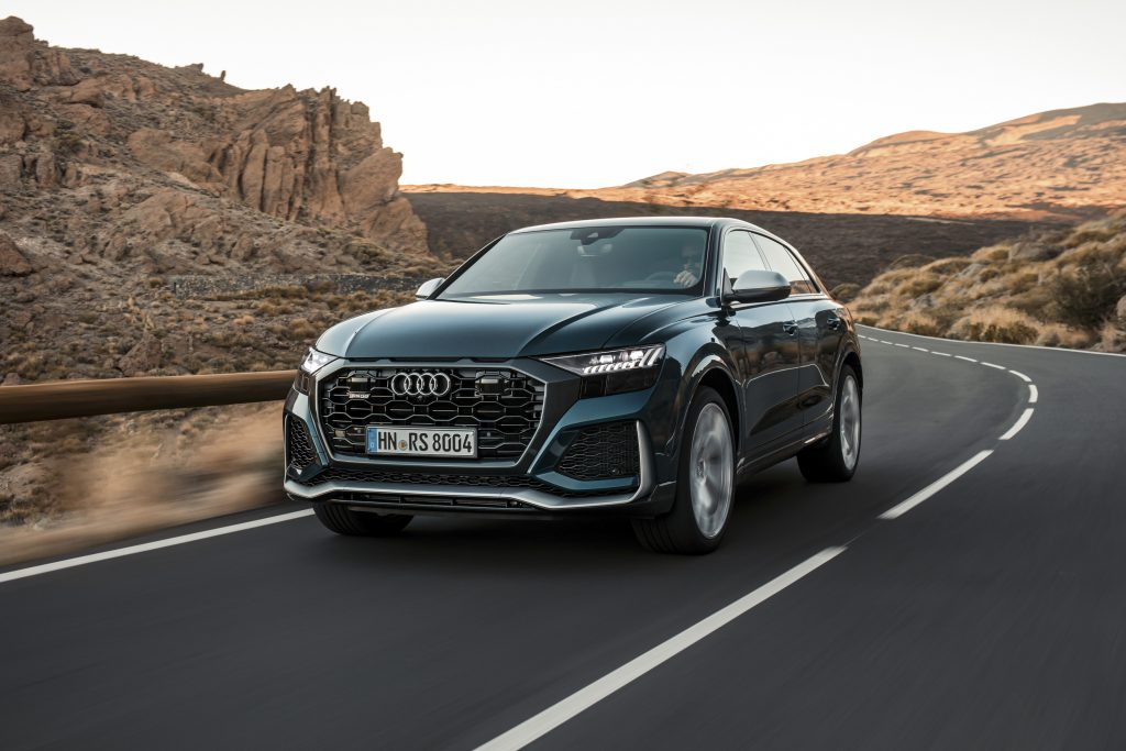 An Audi RS Q8 in motion