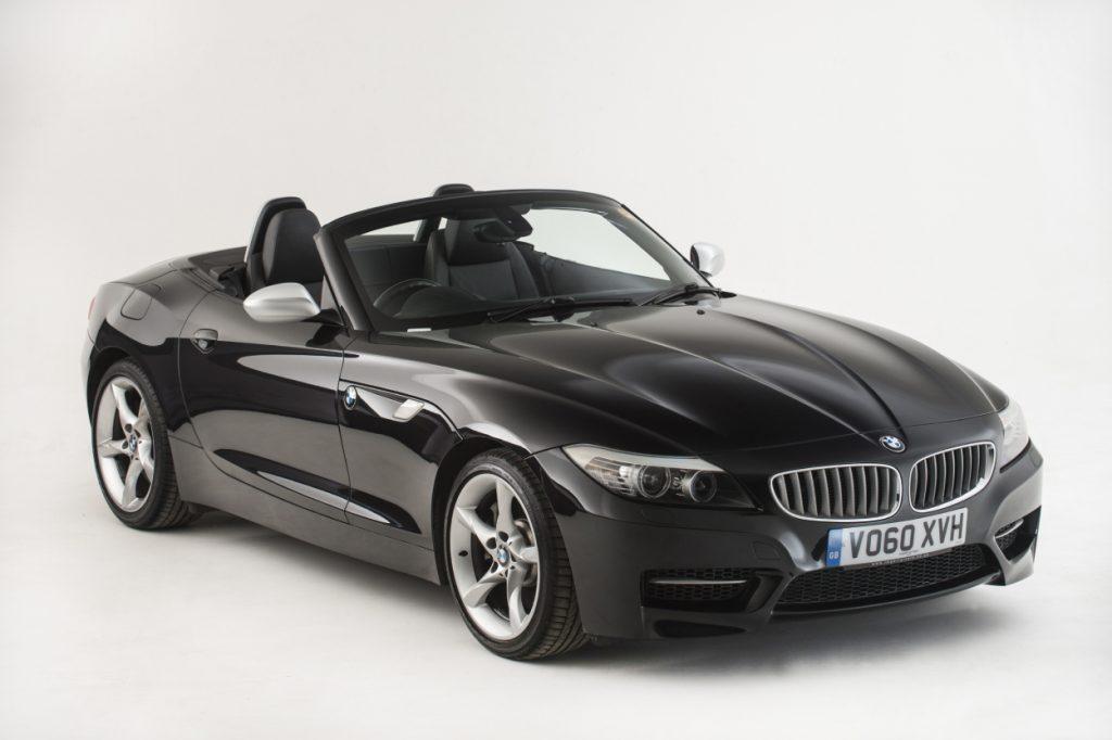 A black BMW Z4 on display