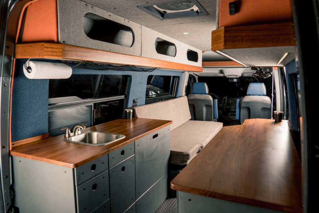 The interior of a Beartooth Vanworks Mercedes Sprinter conversion van suitable for vanlife