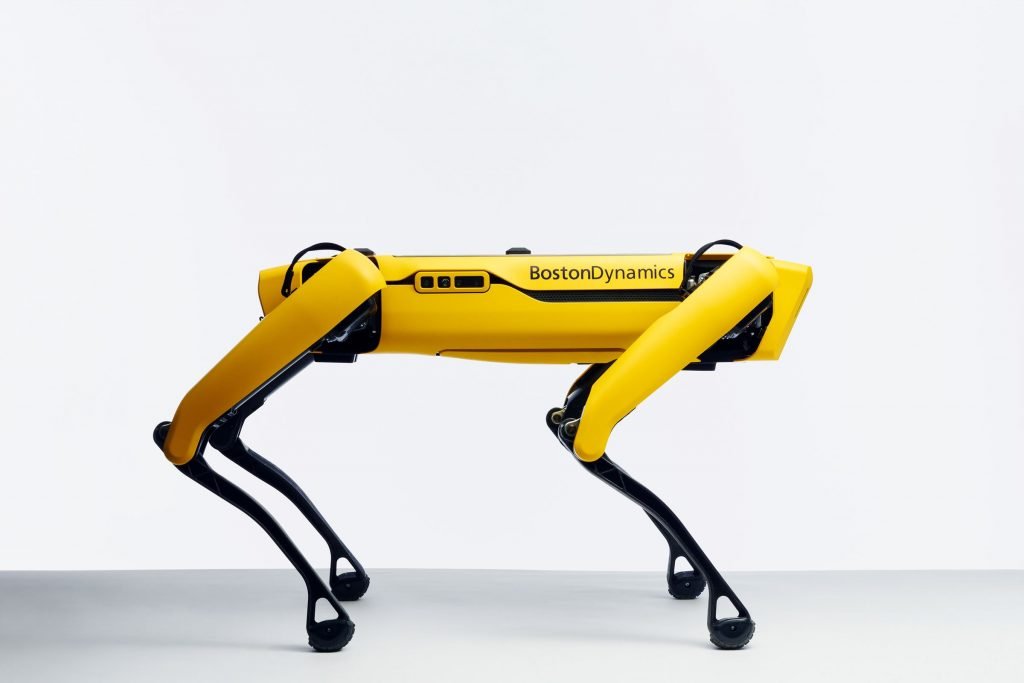 side view of yellow robot dog