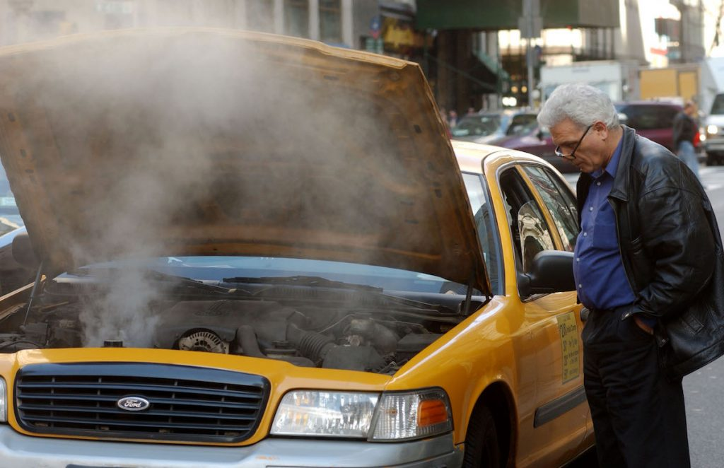 Taxi car overheating in NYC