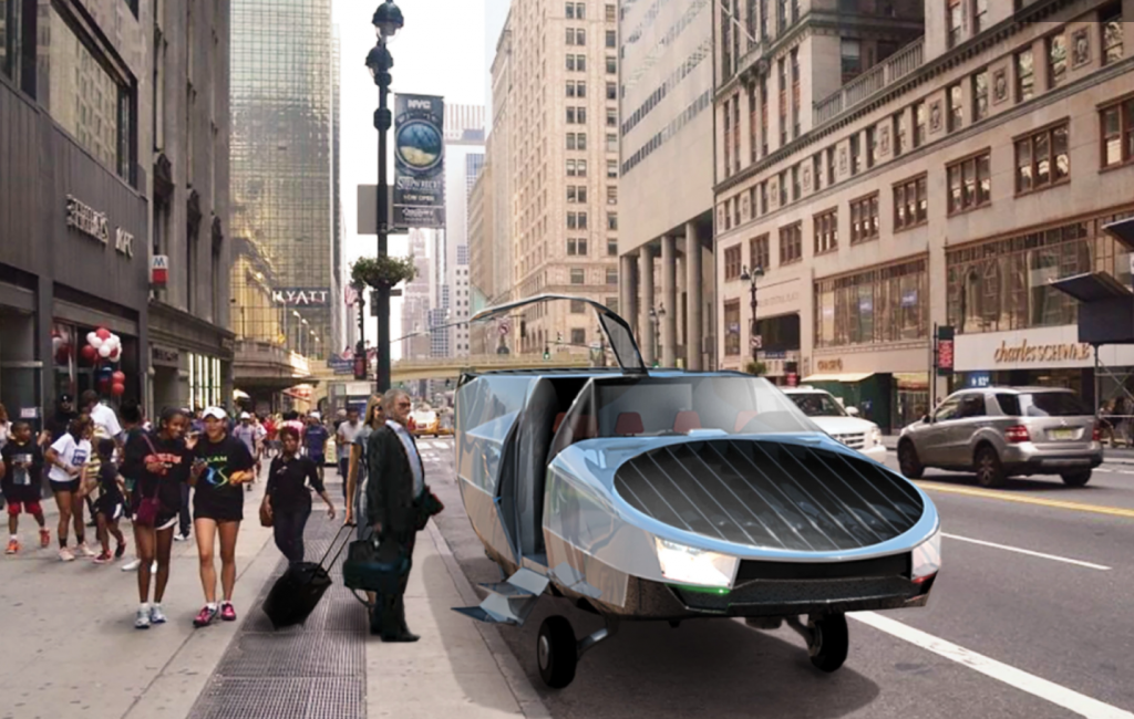Cityhawk flying car in cityscape