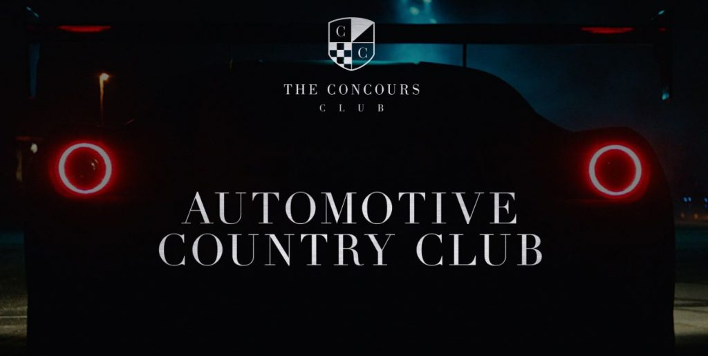 The silhouette of the rear of a Ferrari is on the home page of a The Concourse Club.