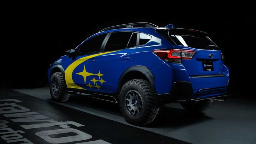 The rear of a Subaru Crosstrek that has been raised with a lift kit from Crawford Performance