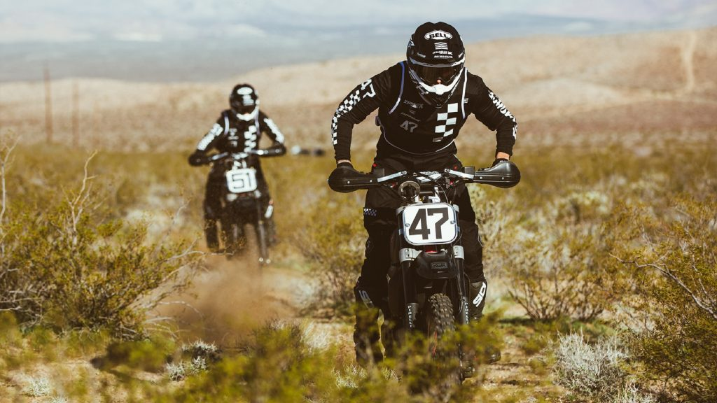 Ducati Scrambler Desert Sleds racing in the Mint 400