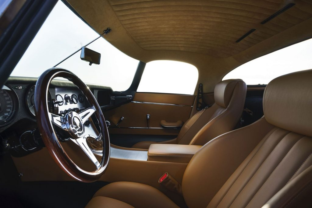 The tan-leather-upholstered interior of the Eagle Lightweight GT coupe