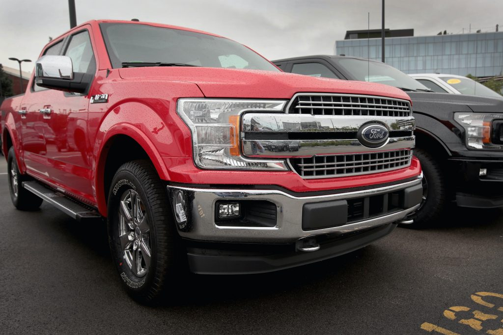 Ford F-150 pickup trucks are offered for sale at a dealership on September 6, 2018 in Chicago, Illinois
