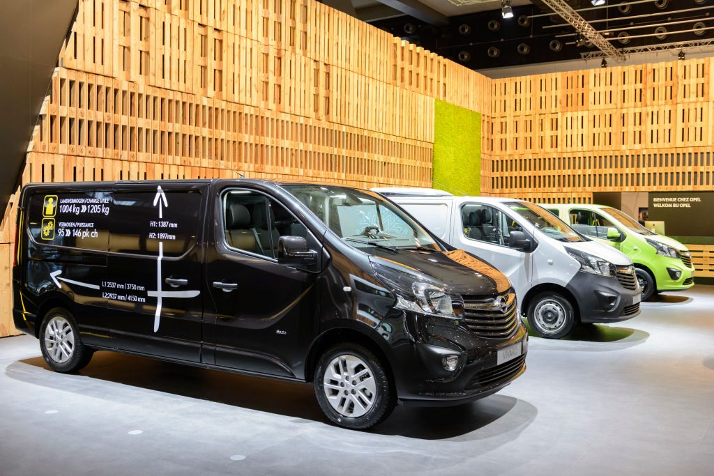 Opel vans lined up at show