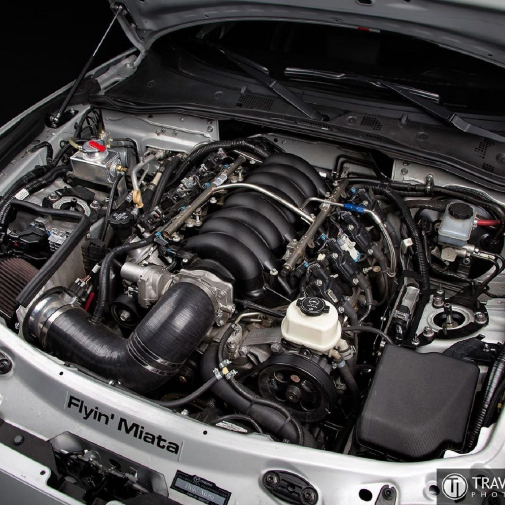 The engine bay of an ND Mazda Miata that's received a Flyin' Miata V8 engine swap