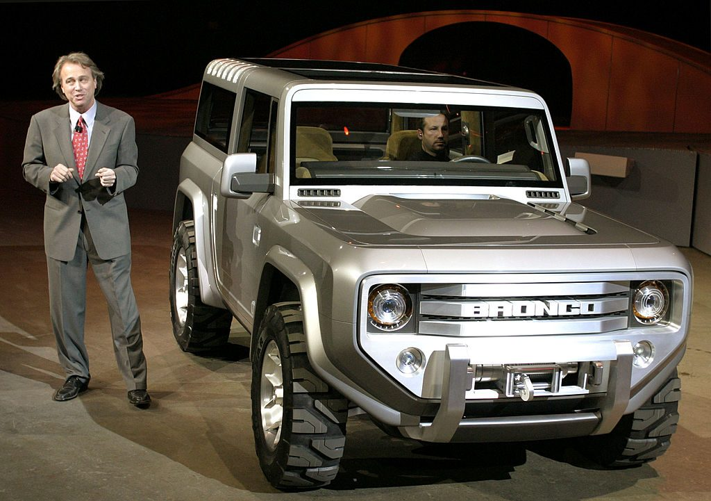 Ford Bronco on display at auto show