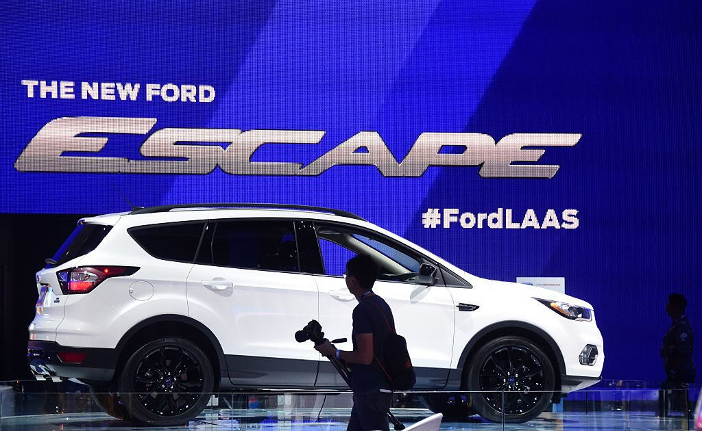 The 2017 Ford Escape is displayed at the 2015 Los Angeles Auto Show