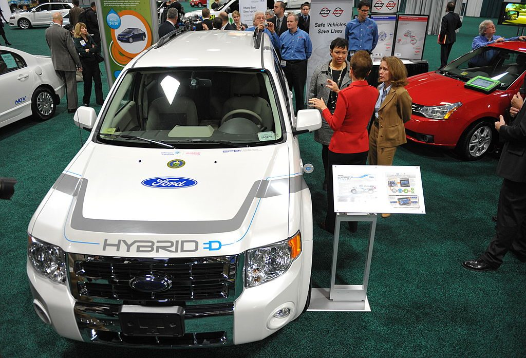 A Ford Escape Plug-In Hybrid on display at an auto show