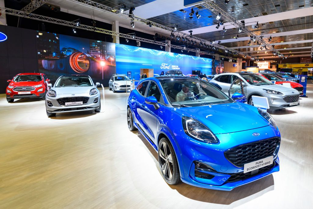 Blue Ford Puma on display at auto show