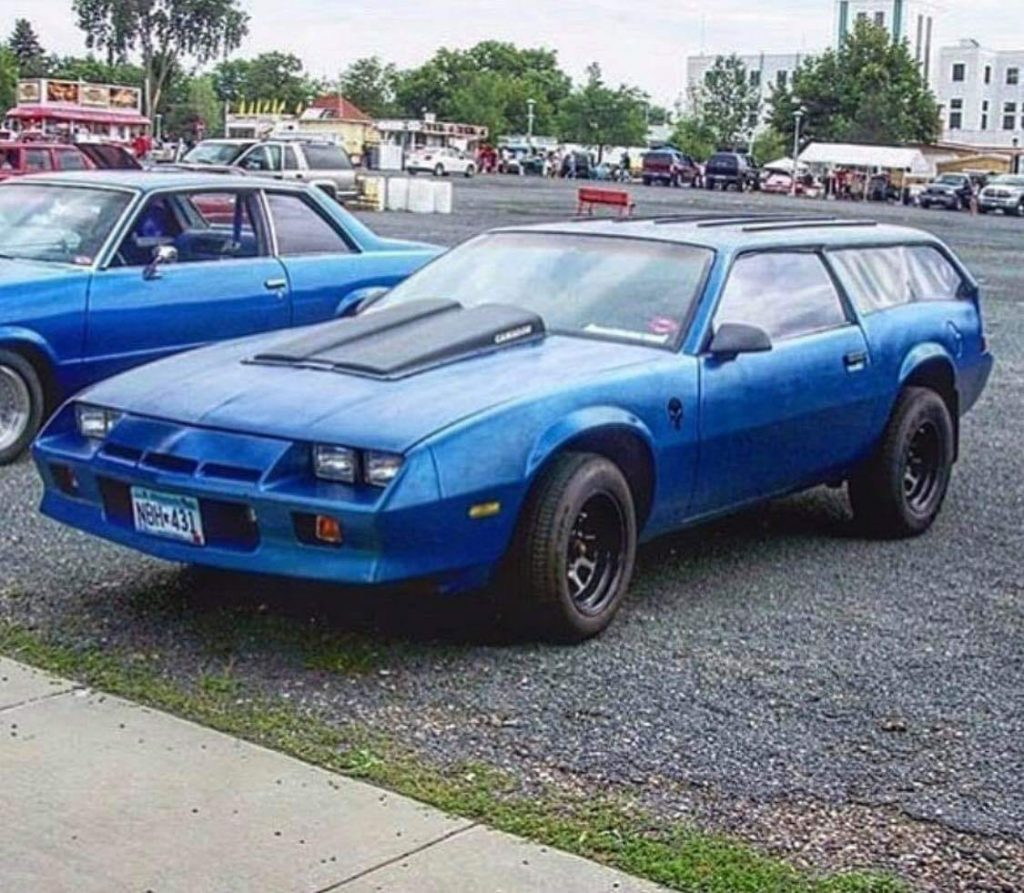 blue 1982 Camaro converted into a station wagon