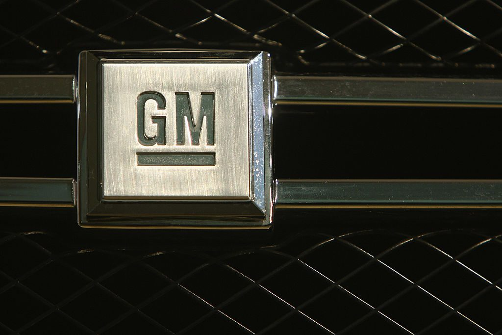A GM logo seen on the front grille of a car