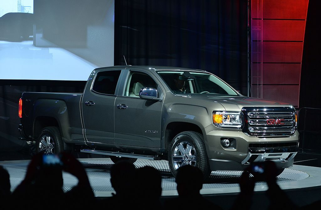 The new GMC Canyon midsize pickup is presented at Russell Industrial Center in advance of the North American International Auto Show