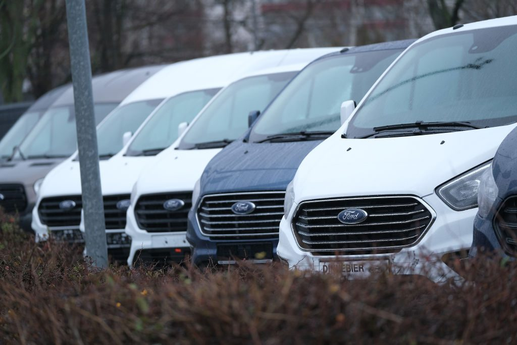 Ford Transit vans lined up for sale
