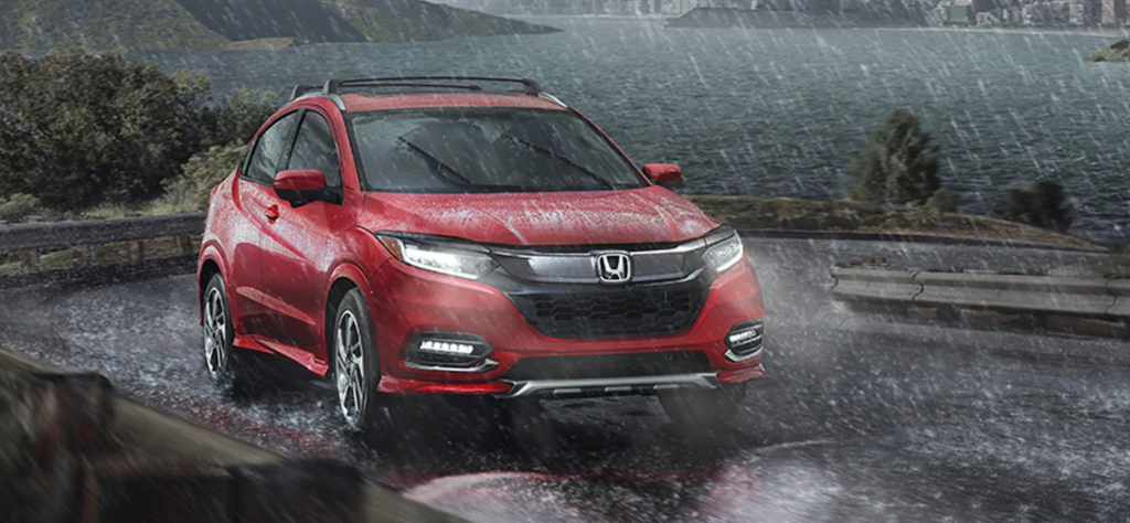 Honda HR-V driving in rain storm