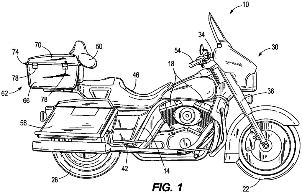 Diagram showing Harley-Davidson's self-driving motorcycle patent