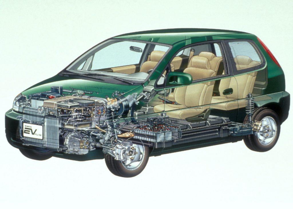 a cutaway shot of the honda EV Plus