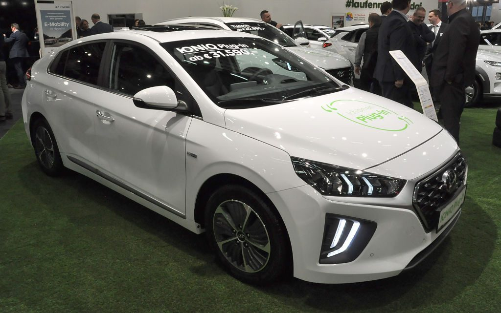 A Hyundai Ioniq Plug-In is seen during the Vienna Car Show press preview at Messe Wien, as part of Vienna Holiday Fair