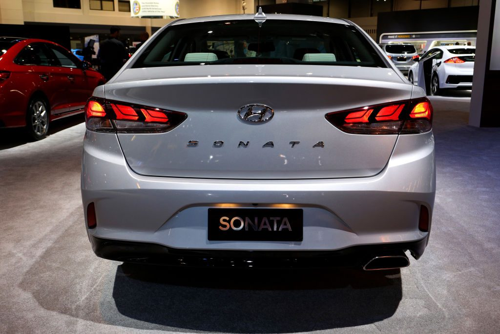 A Hyundai Sonata on display at an auto show