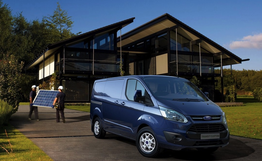 new or used, the Ford transit––like this blue one infant of a modern home––are great work vans