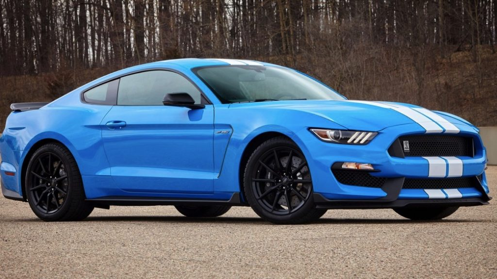 It may be much more affordable to buy a three year old mustang, like this candy blue ford gt350 Shelby from 2017. This muscle car competes with others like the Chevy Camaro and Dodge Challenger