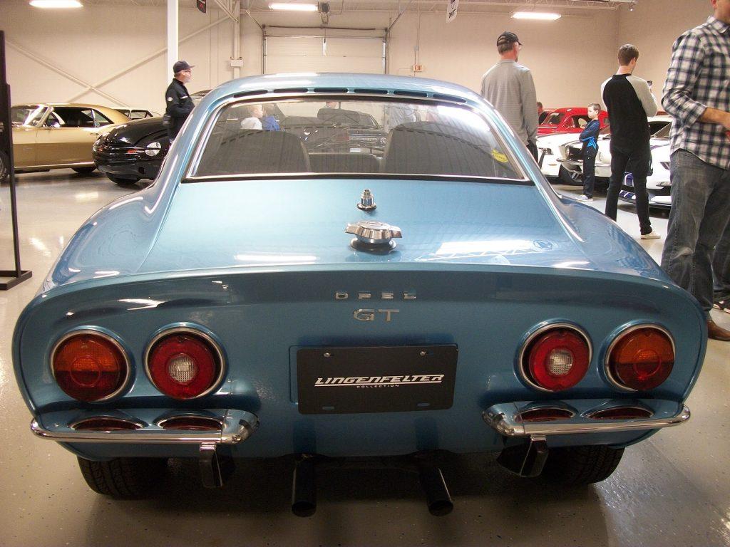 Ken Lingenfelter's blue 1973 Opel GT, rear view
