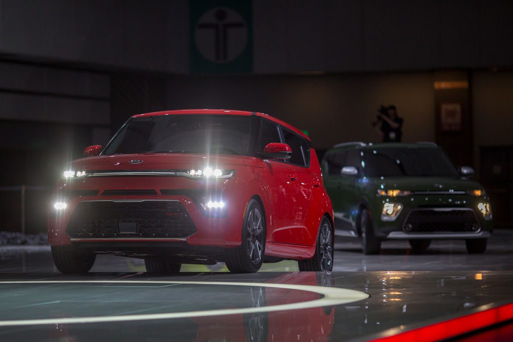 The Kia Soul GT Line (L) and X Line are shown during the auto trade show, AutoMobility LA