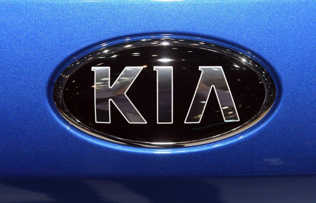 A Kia logo, taken on the second press day.