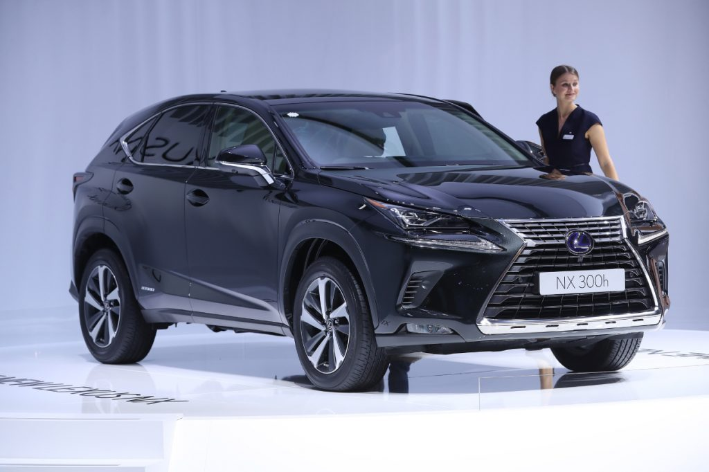 A new Lexus NX 300h on display at an auto show