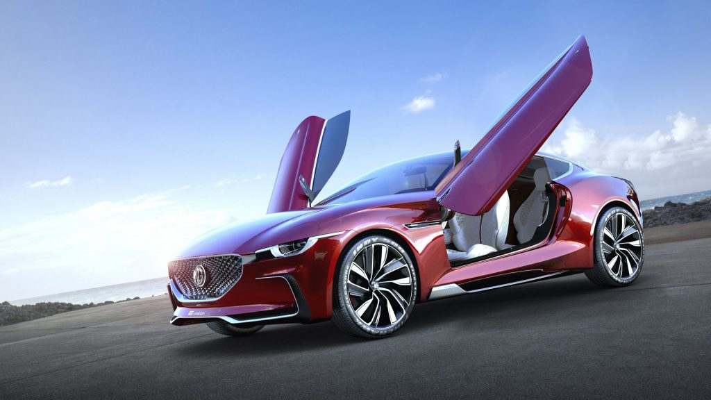 The Butterfly doors are open on the MG E-Motion concept car