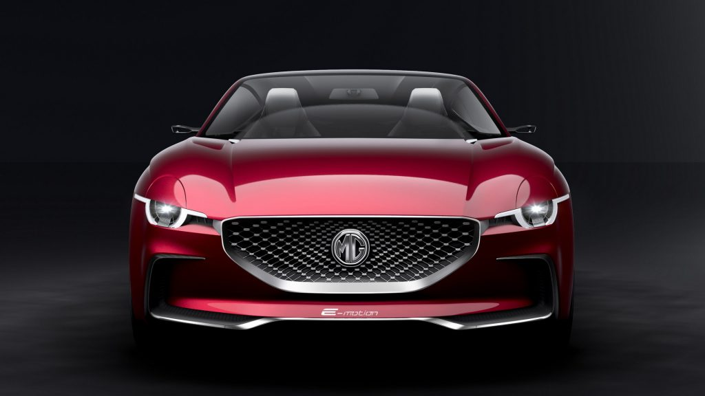 Front end of a the MG E-Motion concept sportscar