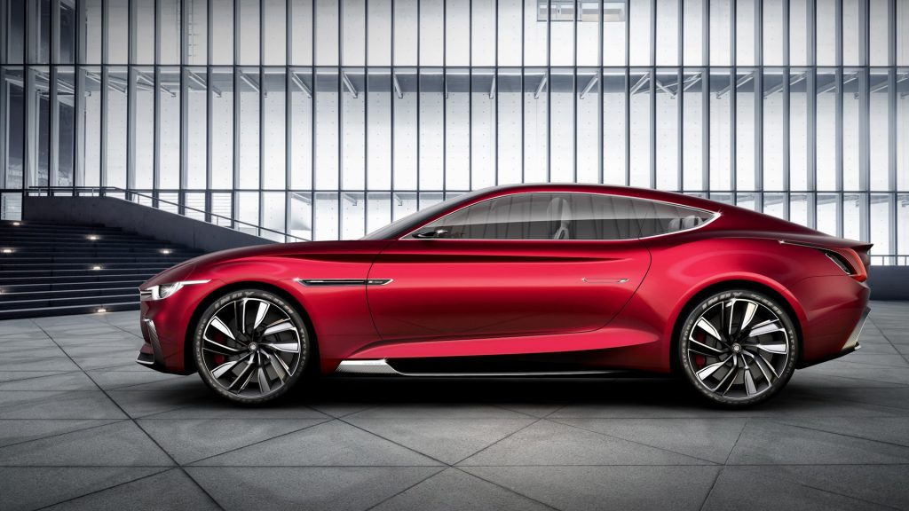 Profile view of the red MG E-Motion concept car