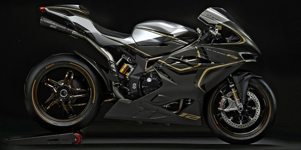 The carbon-fiber-and-gold MV Agusta F4 Claudio sportbike