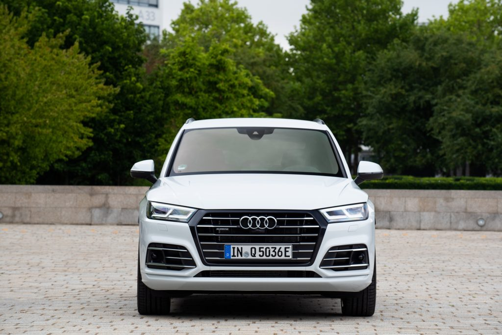 front shot of a white audi Q5 plug-in hybrid