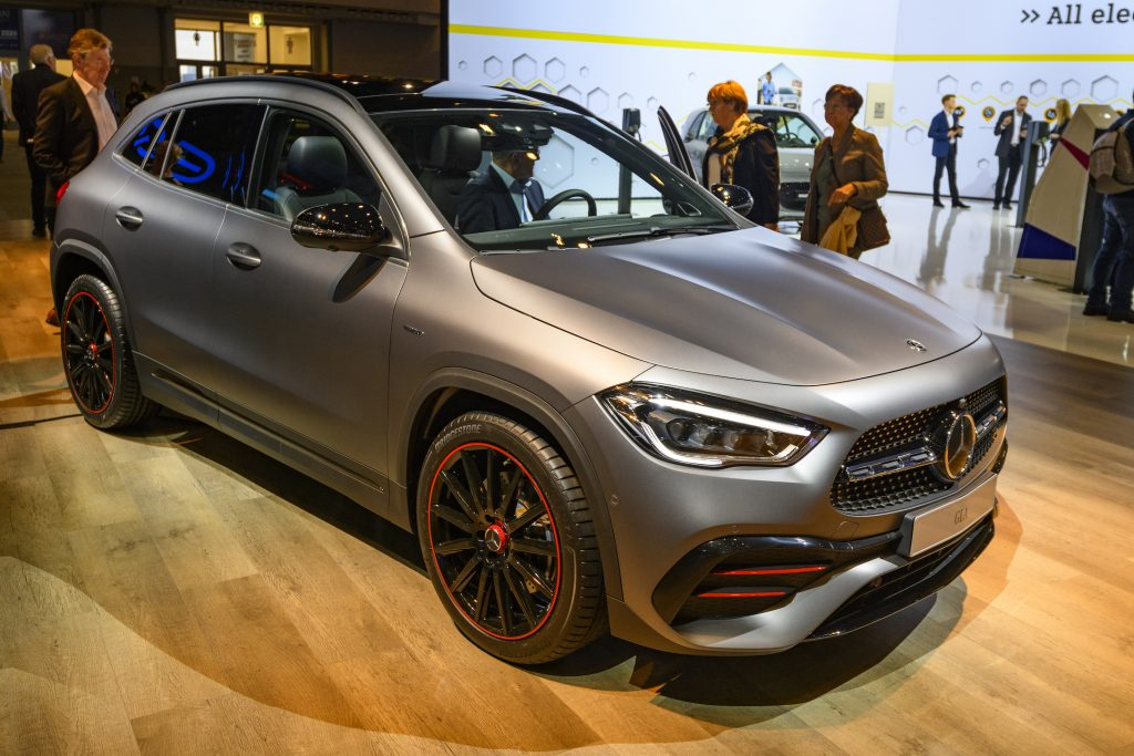 Mercedes-Benz GLA compact crossover SUV car on display at Brussels Expo