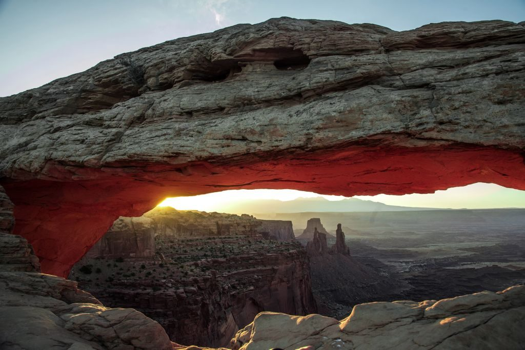 Mesa arch is a unique arch found in Canyonlands, in the town of Moab, Utah. on June 4, 2018. (Photo by Larry Hulst/Michael Ochs Archives/Getty Images)