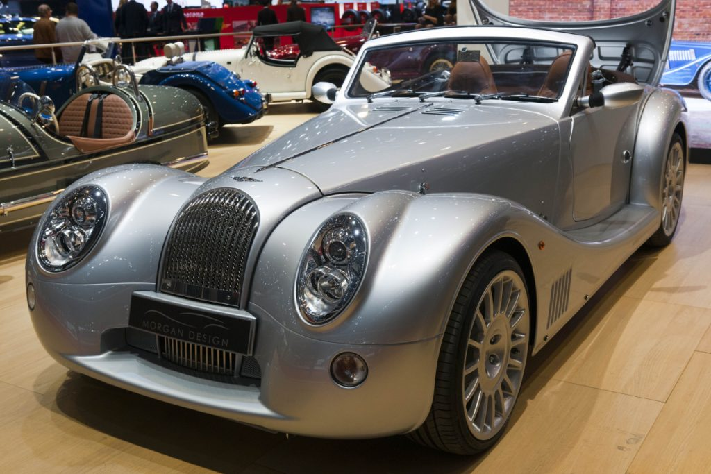 A Morgan Aero 8 on display at an auto show