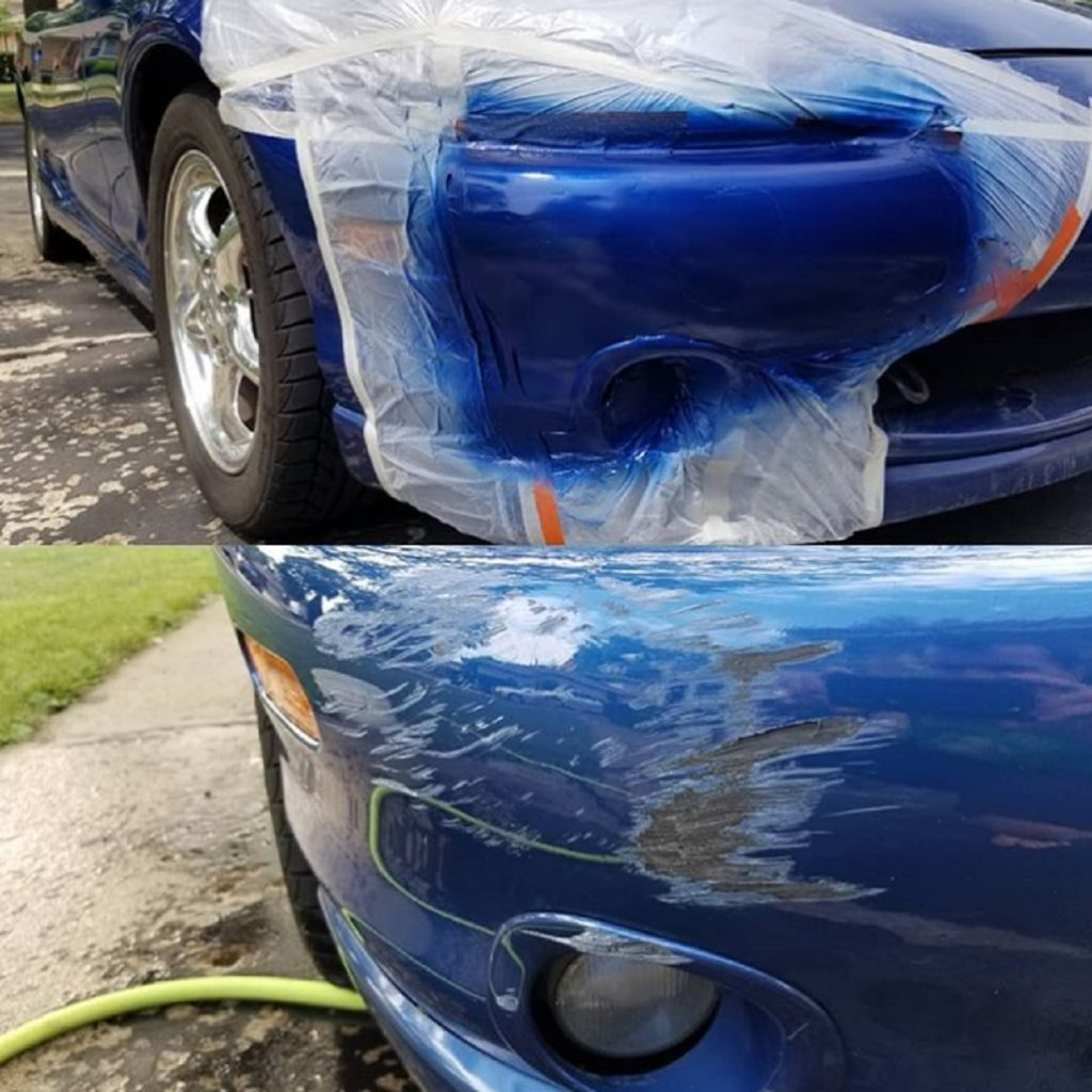 Blue 1999 Mazda Miata shown before and after the car paint and scratched bumper were repaired