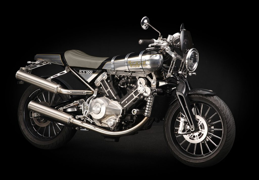 The new aluminum-tanked Brough Superior SS100