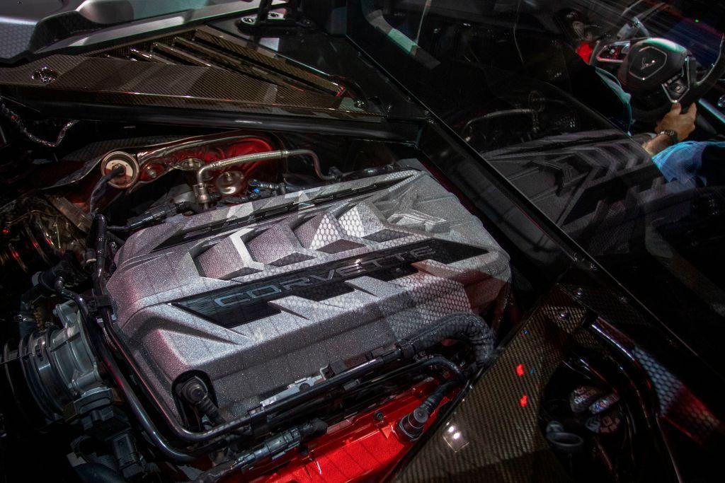 A new 2020 Corvette engine on display