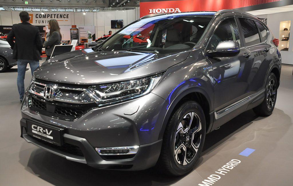 A gray Honda CR-V on display at an auto show