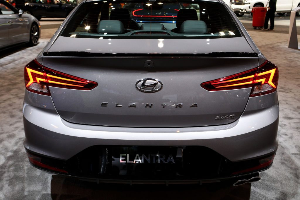 A 2020 Hyundai Elantra on display at an auto show