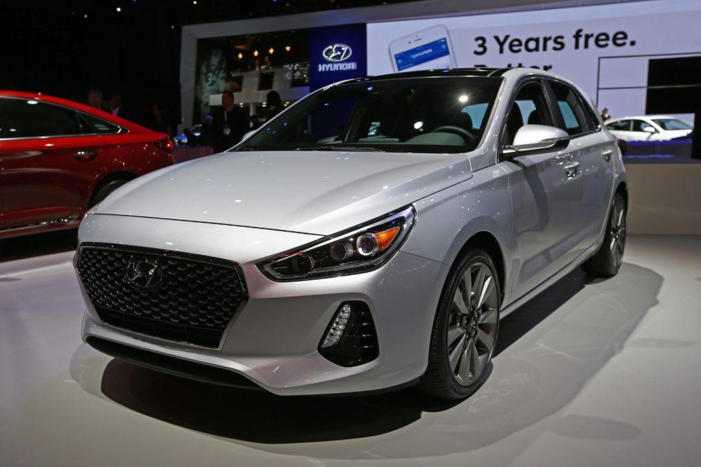 A gray Hyundai Elantra on display at an auto show