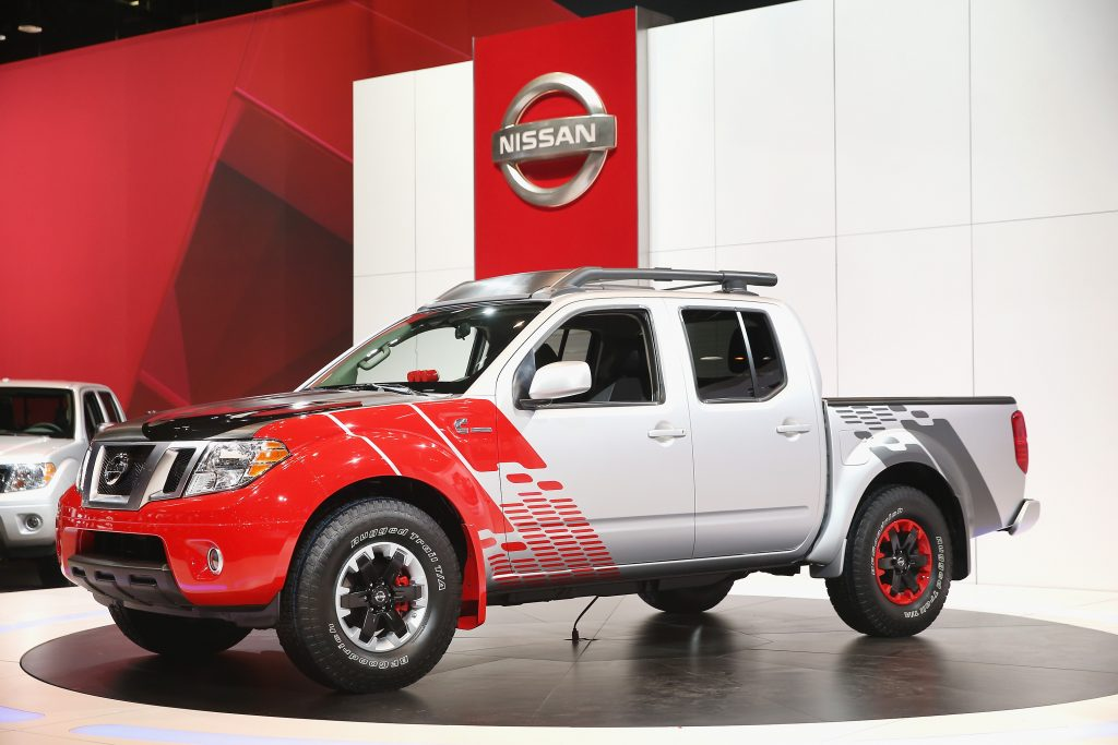 A Nissan Frontier on display at an auto show