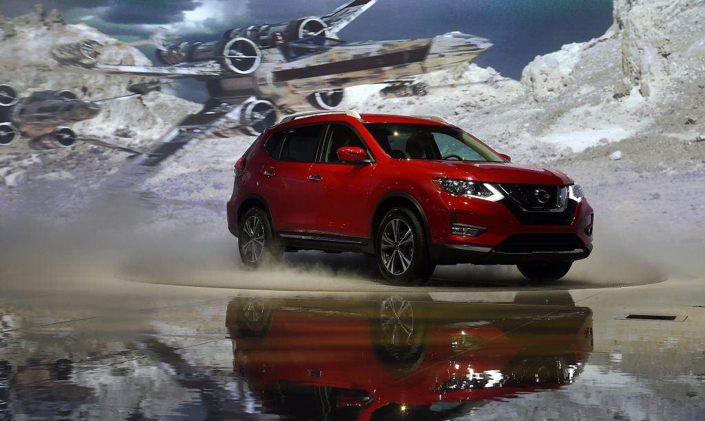 A 2017 Nissan Rogue is displayed during media preview days ahead of the public opening of the Los Angeles Auto Show