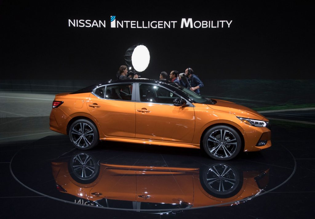 A Nissan Sentra car on display at the 2019 Los Angeles Auto Show in Los Angeles, California